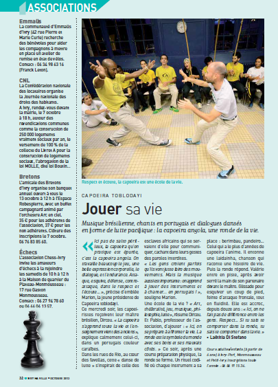 Ivry Ma Ville octobre 2013 - Article Capoeira angola